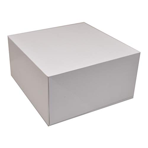 Deep Square Cardboard Box with Lid, 10x10 inch, White Deep Gift Box, 2 Packs of 4 (8 -