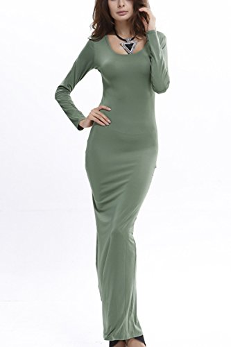 Damen Lange Ärmel Bodycon Lange Maxi Stift Partei Kleid Green ...
