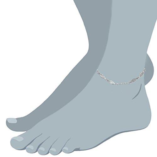 "14K White Gold Fancy Ladies Anklet, 10"""