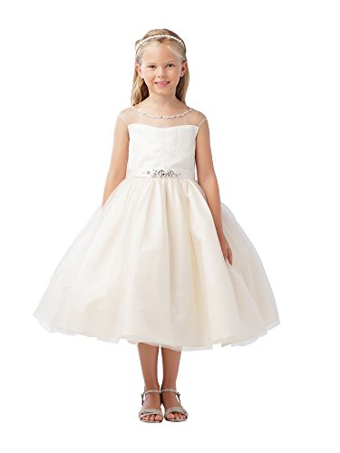 Tip Top Kids Big Girls Champagne Illusion Beaded Lace Belted Junior Bridesmaid Dress 12 Beaded Belted Skirt