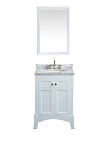 Eviva EVVN514-24WH New York White Bathroom Vanity, with White Marble Carrera Counter-Top & Sink, 24