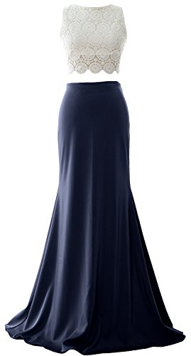 Dress Gown Jersey Evening Two MACloth Mermaid Women Formal Lace Prom Long Piece Dunkelmarine HTHAC6qw