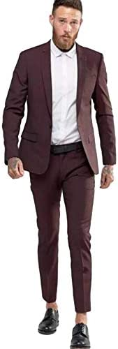 メンズ2ピーススーツワンボタンノッチラペルタキシードジャケットパンツ