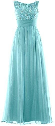 MACloth Women Lace Chiffon Long Prom Dress Wedding Party Formal Evening Gown Turquesa