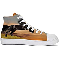 YOLIYANA Horse Decor Durable High Top Canvas Shoes,Western Wildlife Theme Friesian Horse Galloping Idyllic Sunset Scenery Pasture Decorative for Men,US 12