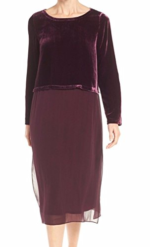 Eileen Fisher Two-Tone Chiffon Women's Large Shift Dress Purple L