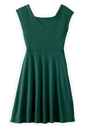 (Fair Indigo Fair Trade Organic Ballet Neck Dress (L, Clover Green))