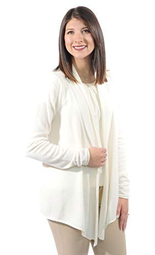Gigi Reaume 100% Cashmere Womens Cardigan Sweater, Open Front, Shawl Collar, Swing Style (Small, Cream)