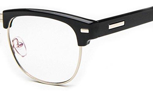 D.King Unisex Vintage Inspired Classic Half Frame Horn Rimmed Clear Lens Black-sliver
