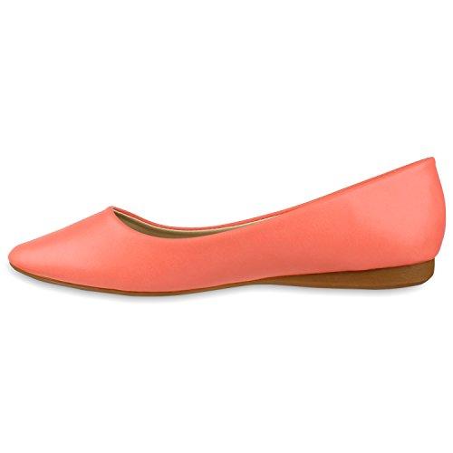 Stiefelparadies Klassische Damen Ballerinas Metallic Schuhe Spitze Schuhspitze Flandell Coral