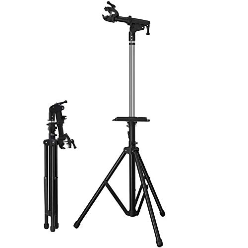 SONGMICS Foldable Bike Repair Stand with Aluminum Alloy Arm, Large Tool Tray, Full Features Stronger & Durable, Portable, Compact USBR03B - Duty Exercise Bikes Heavy
