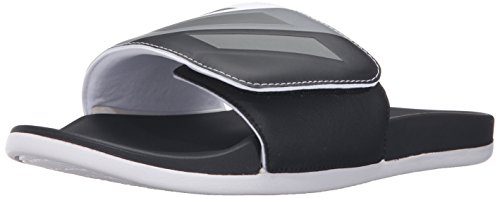 adidas Performance Mens Adilette CF Ultra Adj Athletic Sandal Black/Neo Iron Metallic/White 2MskuG4t