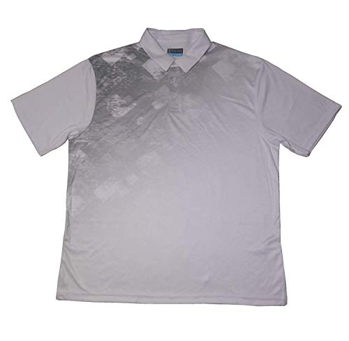 PGA Tours Mens Size Large Short Sleeve Tech Space Dye Argyle Print Polo, Bright White