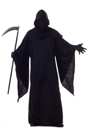 Horror Robe Grim Reaper Costume, Black, Medium (40-42) -