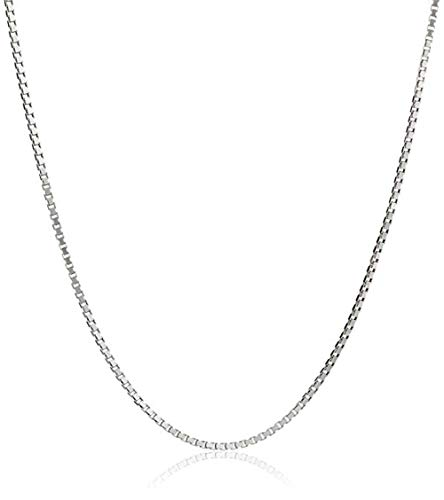Necklace Oxidized Chain Box - Nonnyl Chain Oxidized S925 Sterling Silver 1mm Round Box Chain Necklace 20 inch Sterling-Silver