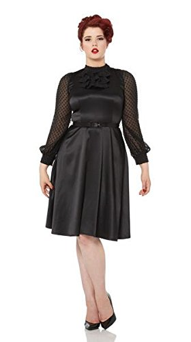 忠実浸すくちばしVoodoo Vixen - Audrey Sophisticated Black Belted Dress