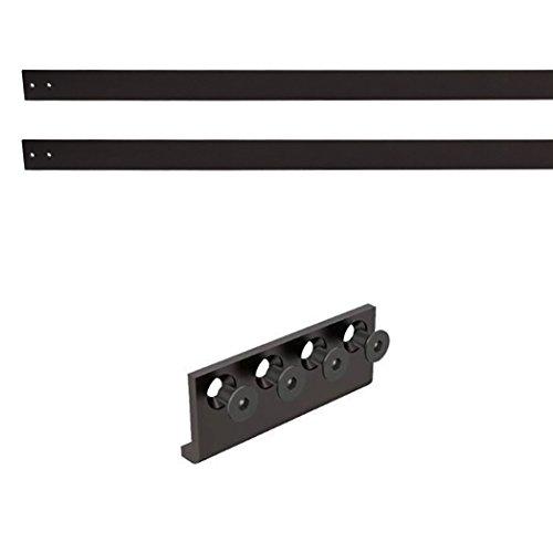 Modern Style Black Double Sliding Barn Door Flat Rail and ()