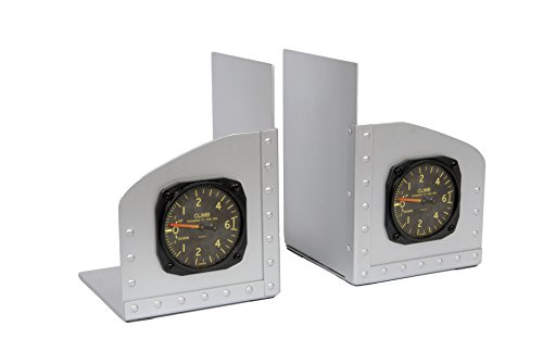 Riveted Aluminum Facsimile Aircraft Instrument Bookends by Phighter Images