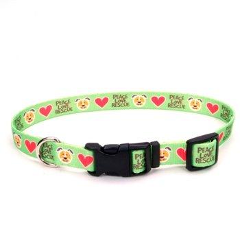 Petco Love Rescue Peace Nylon Green Adjustable Dog Collar, Large