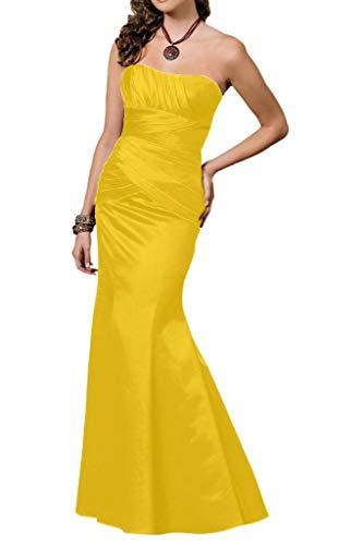 Schmaler Bodenlang Herzausschnitt Gelb Abendkleider Schleppe Marie Schnitt Abiballkleider kurz Braut Satin La mit 8wYqa1n