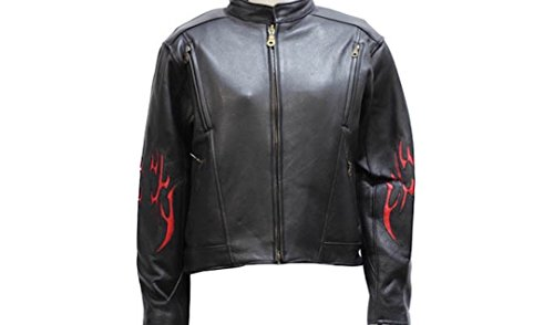 (Ultimate Leather Apparel Ladies Vented Leather Motorcycle Jacket Flame on Sleeves and Back Side Laces 3XL Black )