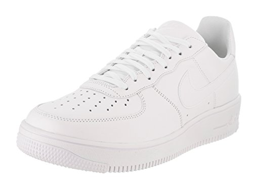Nike Menns Air Force 1 Ultraforce Lær Basketball Sko Hvit / Hvit Hvit