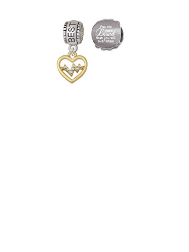 Gold Tone Heart - Crystal Heartbeat Best Friend Charm Bead with You Are More Loved Bead (Set of 2)