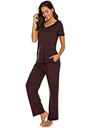 Ekouaer Women Pajamas Short Sleeve & Long Pants Sleepwear 2 Piece Pj Set S-XXL