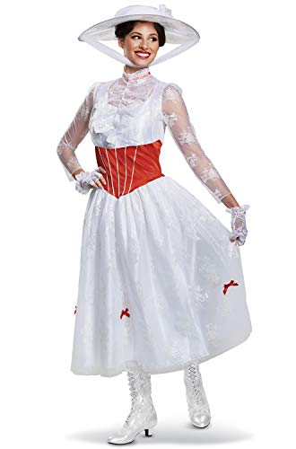 Disguise Women's Mary Poppins Deluxe Adult Costume, White, S (4-6) for $<!--$51.87-->