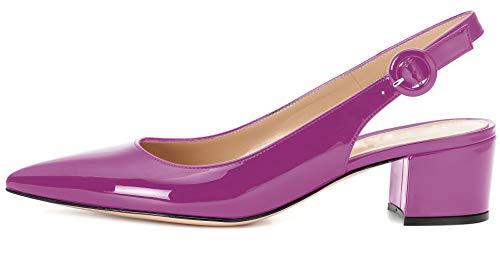 "Eldof Pointed Toe Pumps,Slingback Ankle Buckle Chic Pumps,Classy Block Heel 2"" Heel for Office Dress Purple US 8"
