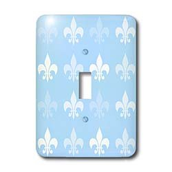 3dRose lsp_56317_1 And Pale Fleur De Lis - French Art Single Toggle Switch Blue/White
