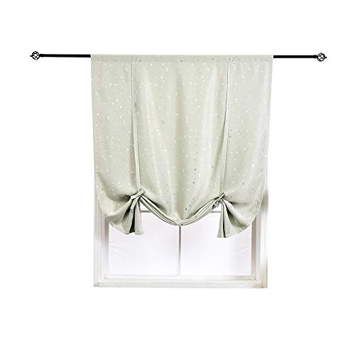 HomeyHo Satr Tie Up Shade Window Thermal Curtains Tie Up Room Darkening Small Curtains Nursery Roman Curtain Balloon Curtains Shades Small Windows Balloon Blinds, 24 x 47 Inch, Beige