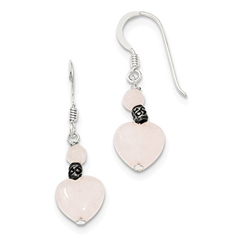 ICE CARATS 925 Sterling Silver Rose Quartz Heart Drop Dangle Chandelier Earrings Love Fine Jewelry Ideal Mothers Day Gifts For Mom Women Gift Set From Heart (Rose Quartz Loop Earrings)