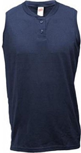 - Soffe Ladies Sleeveless Navy Two-Button Henley-XLARGE