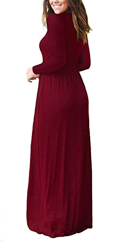 MISFAY Pockets Loose Maxi Plain Long Casual Wine Dresses Long Women Dresses Red Sleeve rvvF4