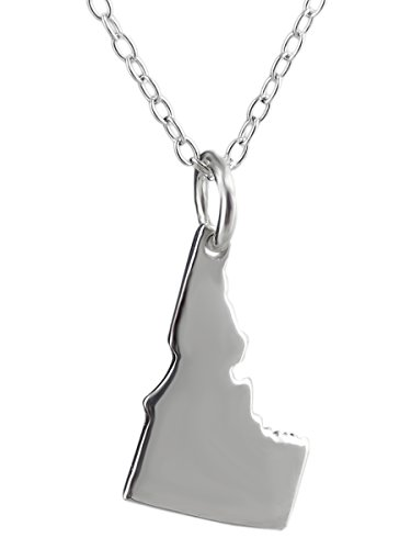 Sterling Silver US Idaho State Charm Necklace, 18 Inch