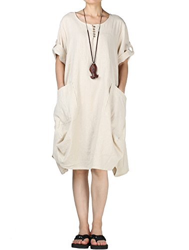 Mordenmiss Women's Cotton Linen Dresses Plus Size Summer Roll-up Sleeve Baggy Sundress with Pockets (XL, Beige)