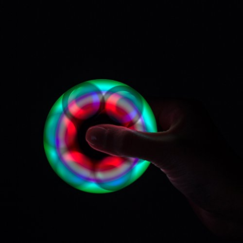 LED Glow Premium Focus Spinner Toy for Stress Relief, ADHD, Anxiety & Rave/EDM (2 Pack Combo (Black/White))