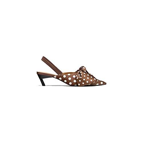 V-A-O-L Kitten Heels Summer Polka Dot High Heels Sandals Women Bowtie Slingback,Brown Sandals,5