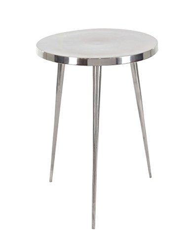 Deco 79 68970 Round Aluminum Accent Table, Silver by Deco 79