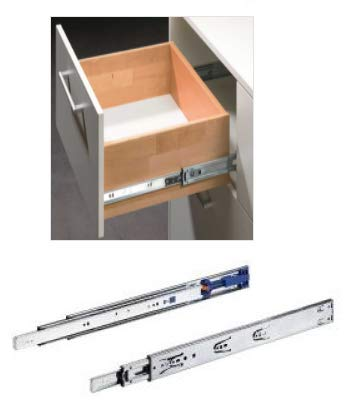 1 Set Hettich 911427600-KA4532 Soft Closing Drawer Slide/Runner 500MM (20 INCH) Anodised