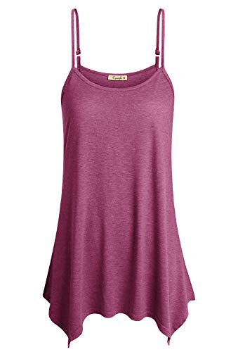 Cyanstyle Plus Size Summer Tunics for Women Ladies Lightweight Tank Top Boat Neck Lovely Sleeveless Breathable Form Fitting Cozy Swing A Line Holiday Loose Fit Beach Cami Rose Red XXL ()