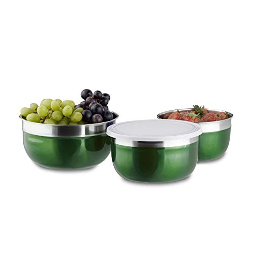 Relaxdays Bowl Set with Lids, 3-Piece Set, Different Sizes, Stainless Steel, Kitchen, Camping, ()