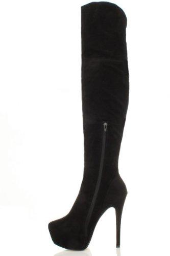 Taglia Uomo Dance nera Stivali scamosciata Pole Pelle Pole Platform Erotic Night Donna xCpRqS