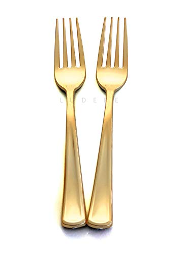 (120 Piece Premium Gold Plastic Forks | Extra Heavy Duty with Bright Shiny Finish | Convenient and Strong | Ludere Elegant Disposable Forks)