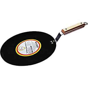 amicus Kitchen Premium Iron Tawa 10 Inch for Roti Paratha Chapati Phulka Omelette Concave Tava with Wooden Handle Grip 1…