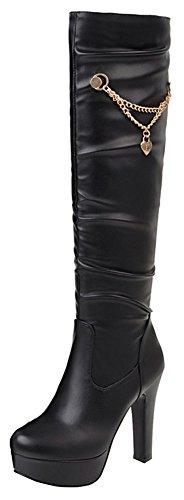 Idifu Vrouwen Zoete Hanger Platform Puntschoen Kniehoge Schoentjes Met Hakken Zwart