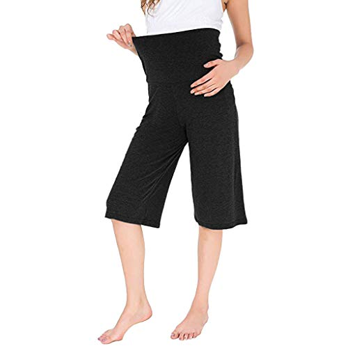 SAYEI Women's Maternity Wide Straight Loose Lounge Pants Stretch Pregnancy Trouser Black]()