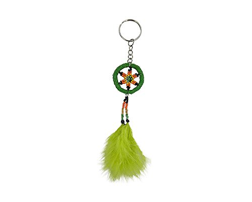 Mia Jewel Shop Dream Catcher Natural Feather Beaded Dangle Handmade Keychain Silver Keyring Hanging Ornament Car Bag Accessory (Lime Green)