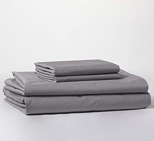 Bokser Home Percale Bed Sheet Set — 100% Long Staple Cotton   Cool, Crisp, Breathable   Extra-Deep Pockets to Fit Any Mattress   Certified Chemical-Free (California King, Cloud Grey) ()